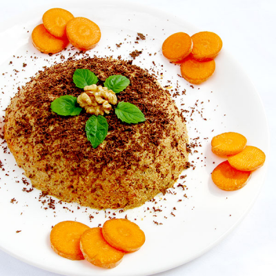 Carrot and Walnut Pudding with Chocolate Sprinkles