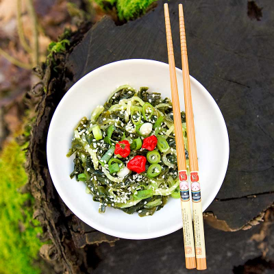 Seaweed Salad with Cucumber and Chlorella Dressing